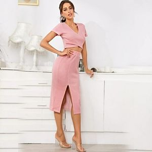 Cross Wrap Crop Tee & Split Skirt Set Pink Size XS